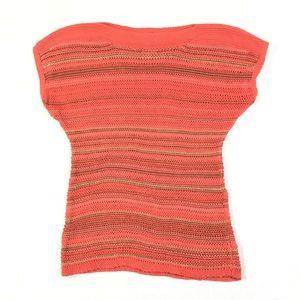 Sweaters - Womens M Boatneck Sleeveless Orange Stripe Sweater